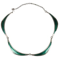 Swedish Modern Borgila Necklace, Sterling Silver and Enamel