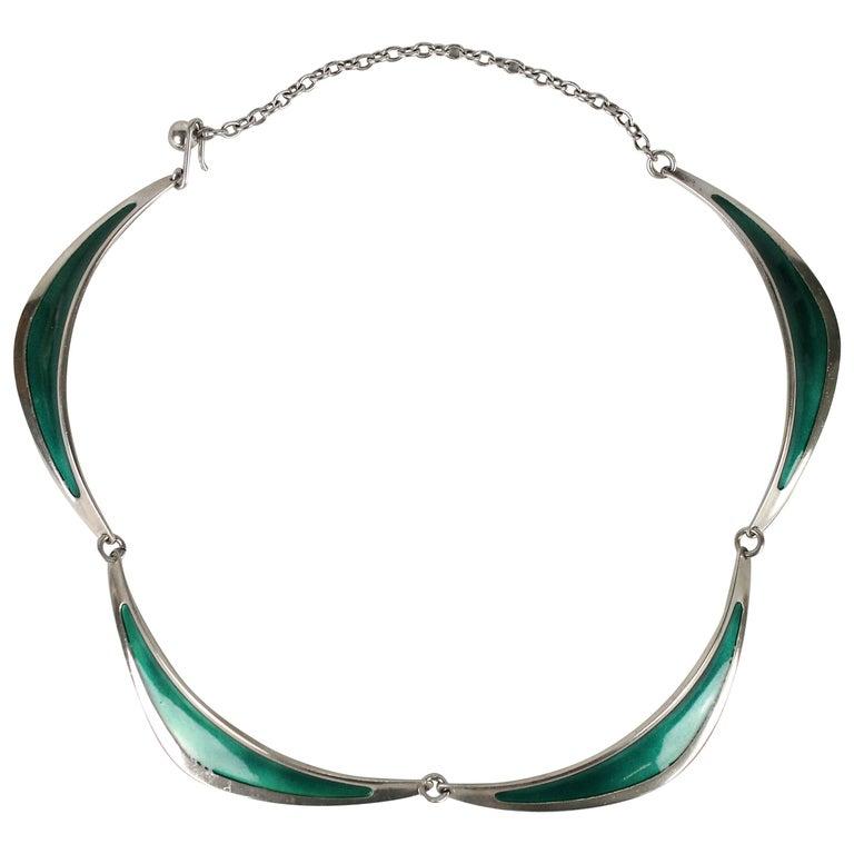 Swedish Modern Borgila Necklace, Sterling Silver and Enamel For Sale