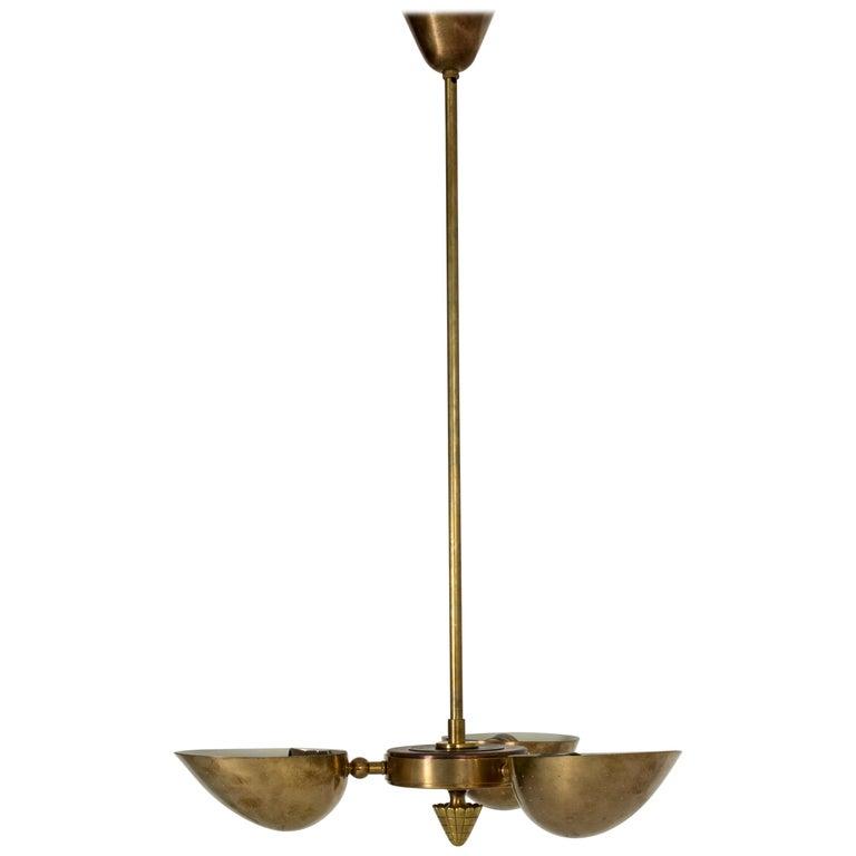 Swedish Modern Brass Ceiling Light For Sale
