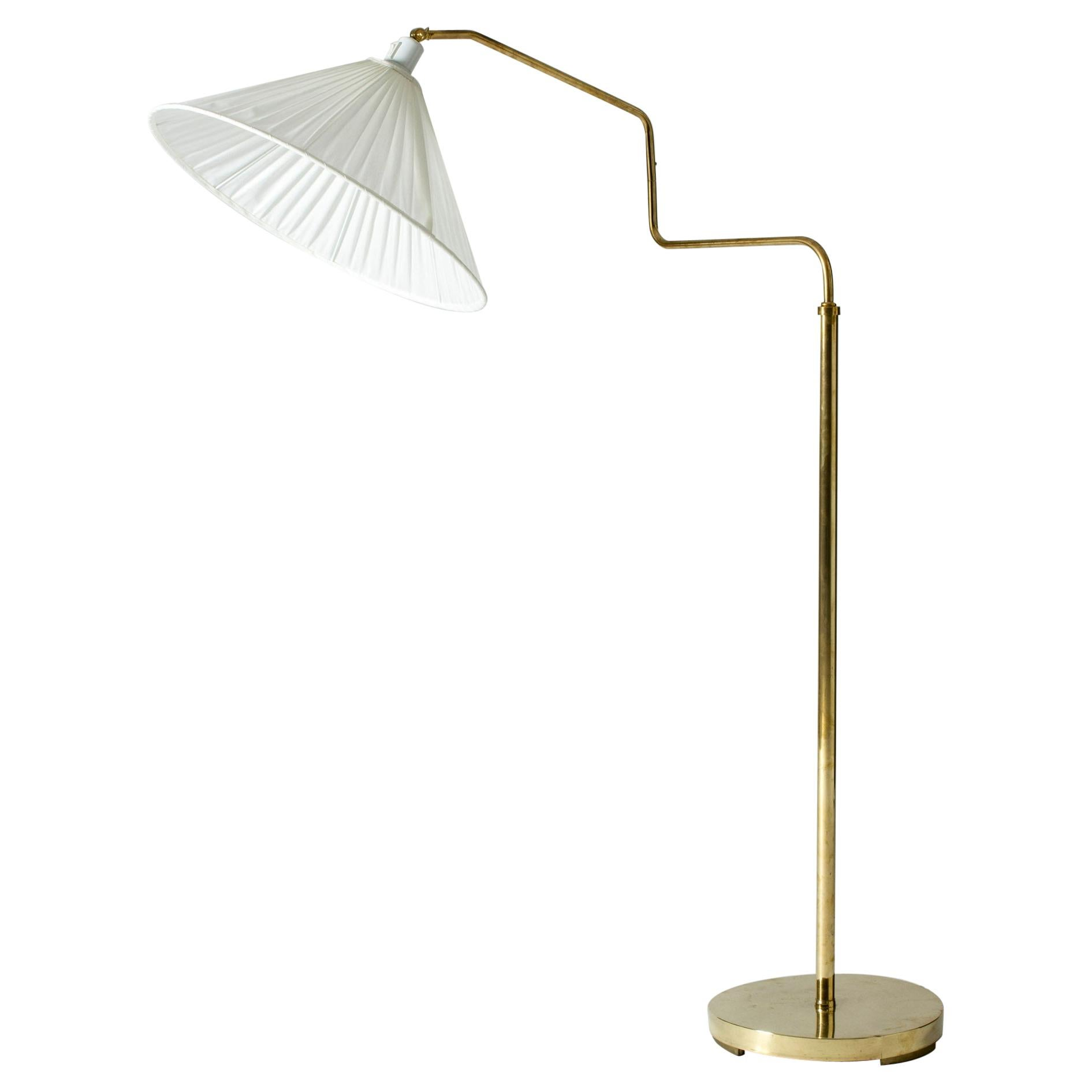 Swedish Modern Brass Floor Lamp, 1940s
