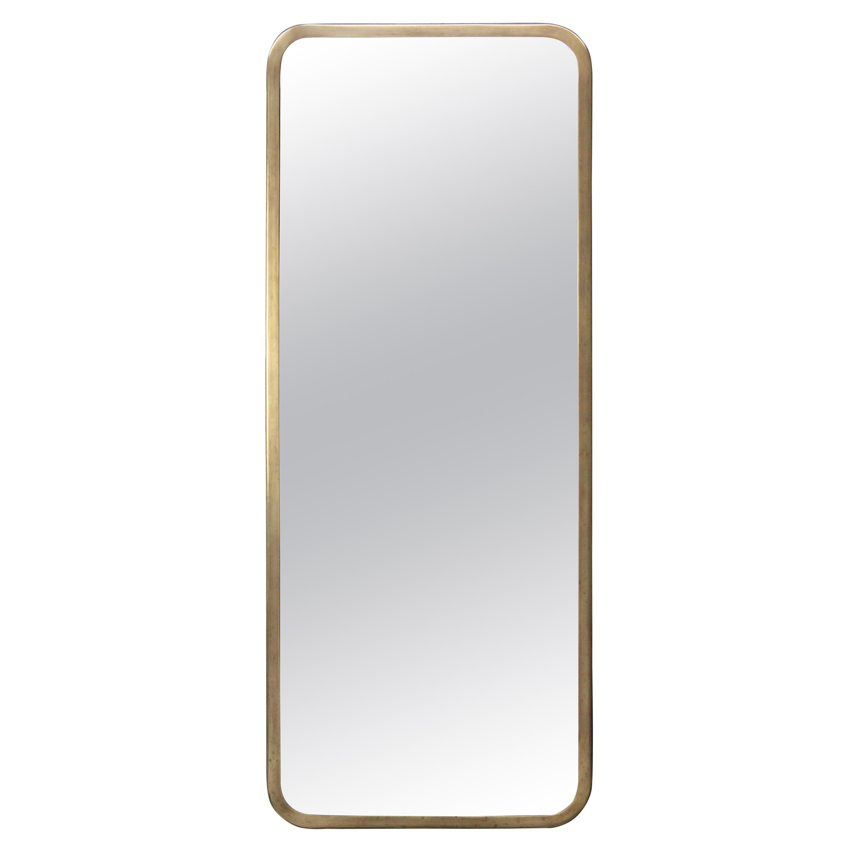 Swedish Modern, Brass Mirror by 'NK' Nordiska Kompaniet, Sweden, 1940s-1950s