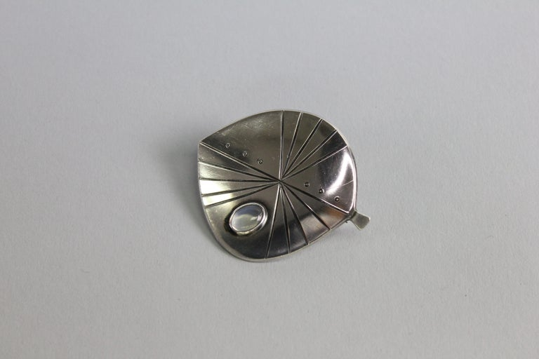 Cabochon Swedish Modern Brooch by Stigbert in Sterling Silver For Sale