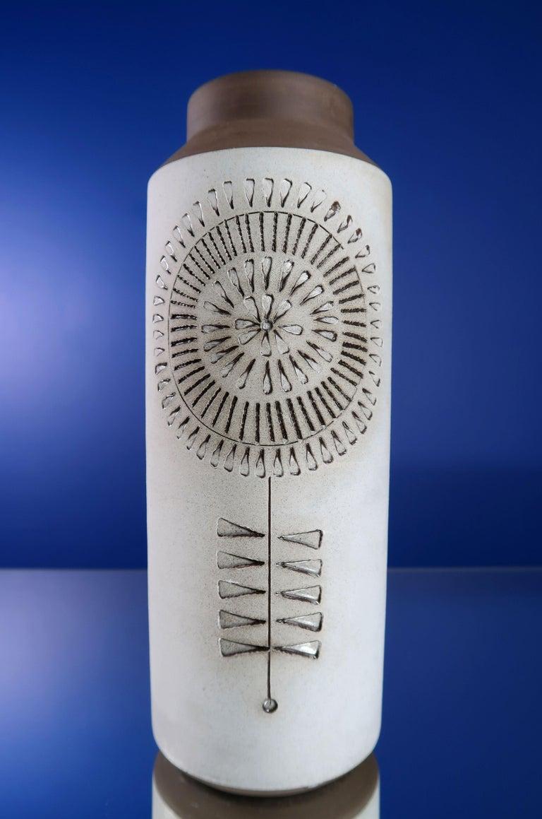 Mid-Century Modern Swedish Modern Ceramic Light Grey Vase by Alingsås, 1960s For Sale