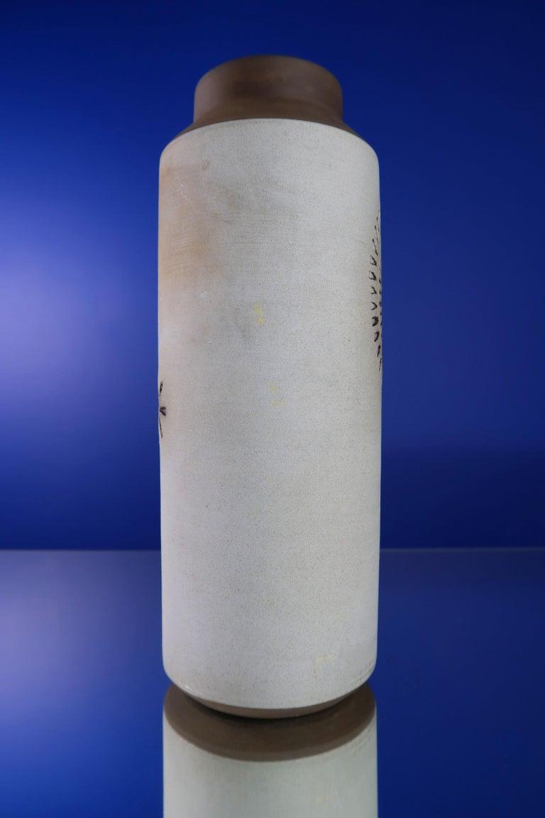 Mid-20th Century Swedish Modern Ceramic Light Grey Vase by Alingsås, 1960s For Sale