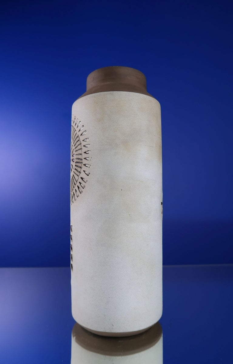 Pottery Swedish Modern Ceramic Light Grey Vase by Alingsås, 1960s For Sale