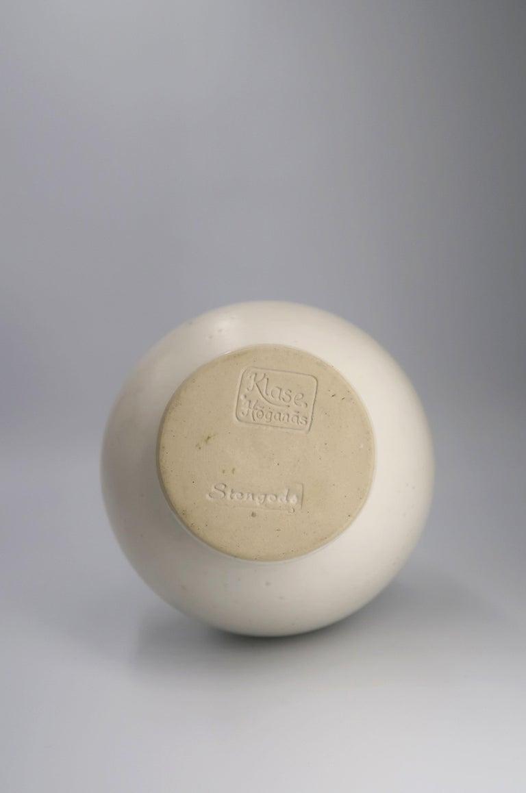 Stoneware Elegant Klase Keramik Hoganas Swedish Modern White Glazed Vase, 1959 For Sale
