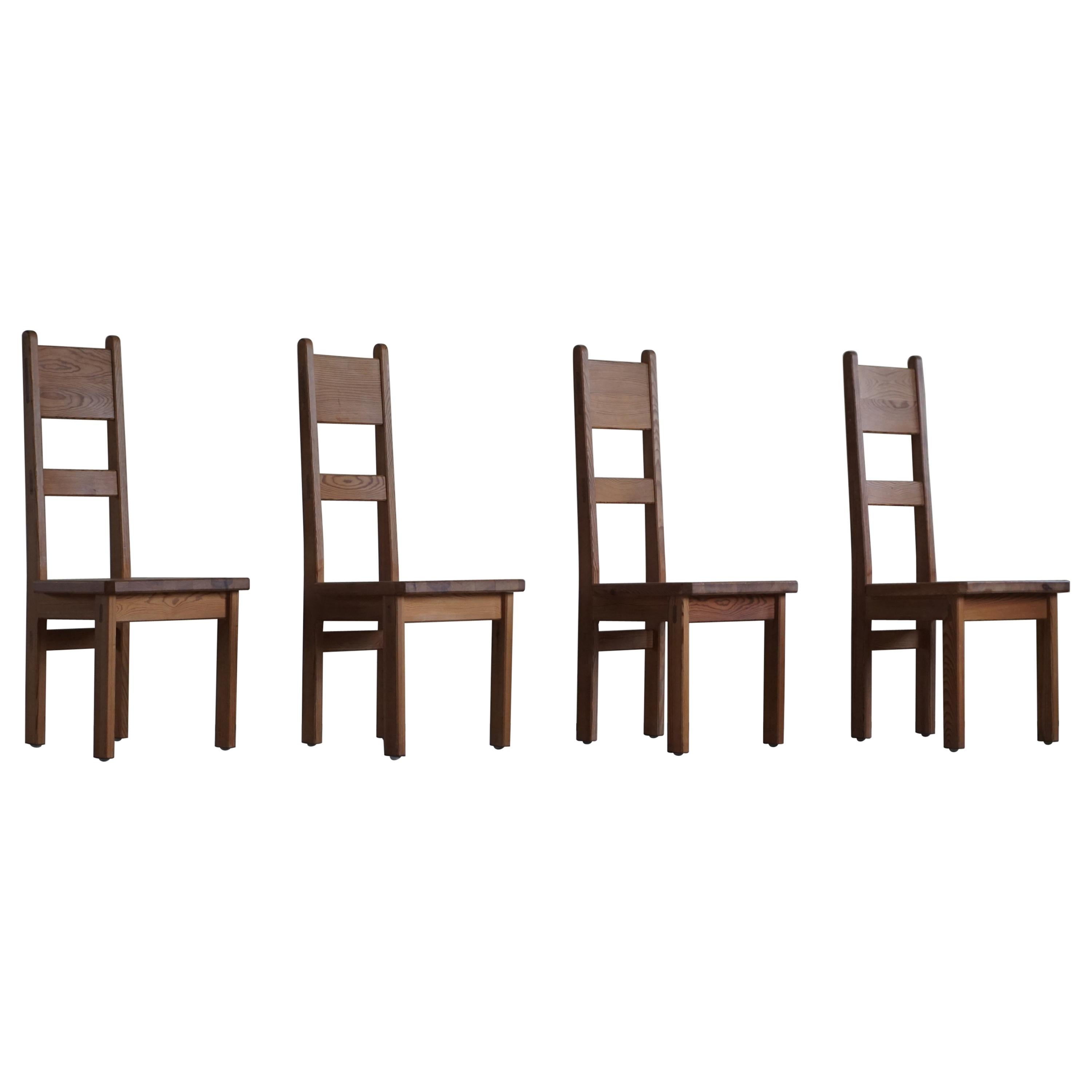 Swedish Modern Dining Chairs in Solid Pine by Roland Wilhelmsson, Set of 4, 1960