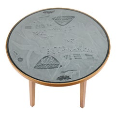 Swedish Modern Engraved Glass Top Table, 1940s
