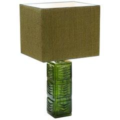 Swedish Modern Fern Motif Green 1970s Table Lamp with Coarse Linen Shade