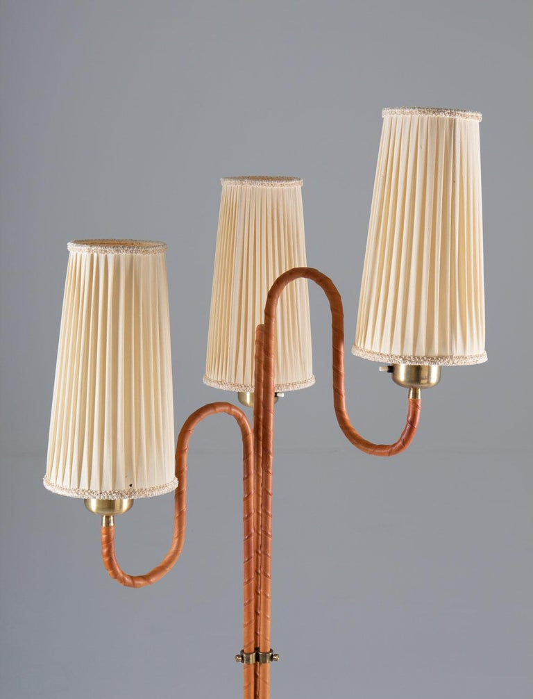 Mid-Century Modern Swedish Modern Floor Lamp in Brass and Leather For Sale