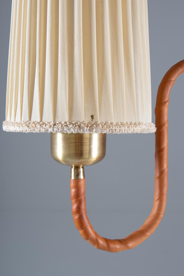Swedish Modern Floor Lamp in Brass and Leather For Sale 1