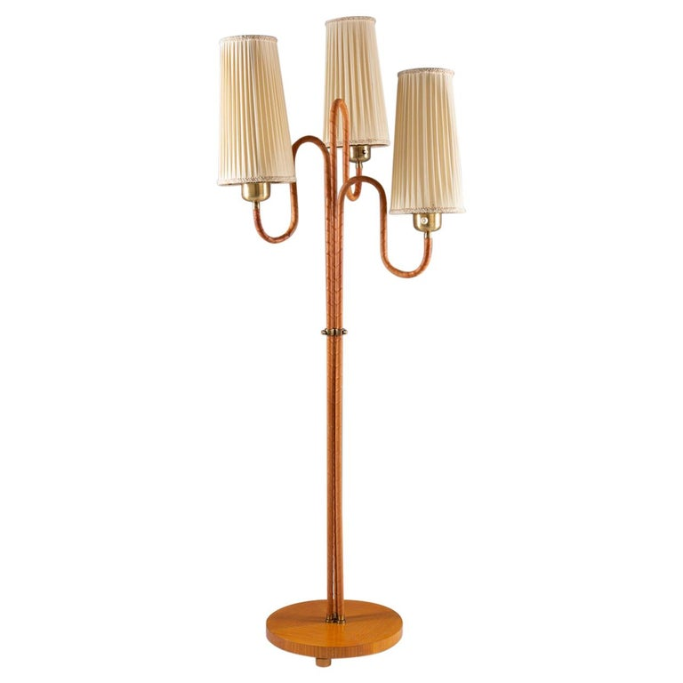 Swedish Modern Floor Lamp in Brass and Leather For Sale