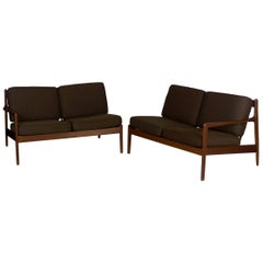Swedish Modern Folke Ohlsson for DUX Pair of Sectional Loveseat Sofas