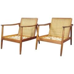 Swedish Modern Folke Ohlsson Lounge Teak Arm Chair with Cane Backrest for Dux