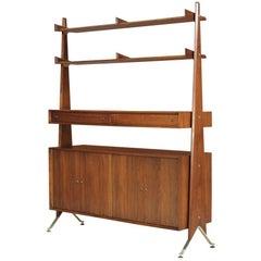 Swedish Modern Free-Standing Bookshelf Unit