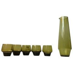 Swedish Modern Green Glass Jug and Cups by John-Orwar Lake for Ekanas, Set of 6