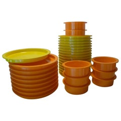 Swedish Modern Gunnar Cyren Dansk Set Stackable Orange/Yellow Melamine Dishes