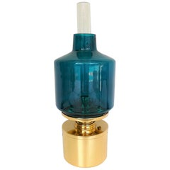 Swedish Modern Hans-Agne Jakobsson AB Markaryd Brass/Blue Glass L-47 Oil Lamp