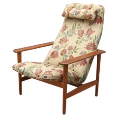 Swedish Modern Highback Plank Lounge Chair Teak