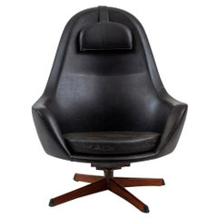 Swedish Modern Highback Swivel Lounge Chair in Black Vinyl