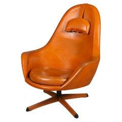 Swedish Modern Highback Swivel Lounge Chair in Orange Vinyl