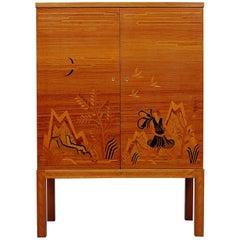 Swedish Modern Intarsia Bar Cabinet by Reiners Mjölby, 1939