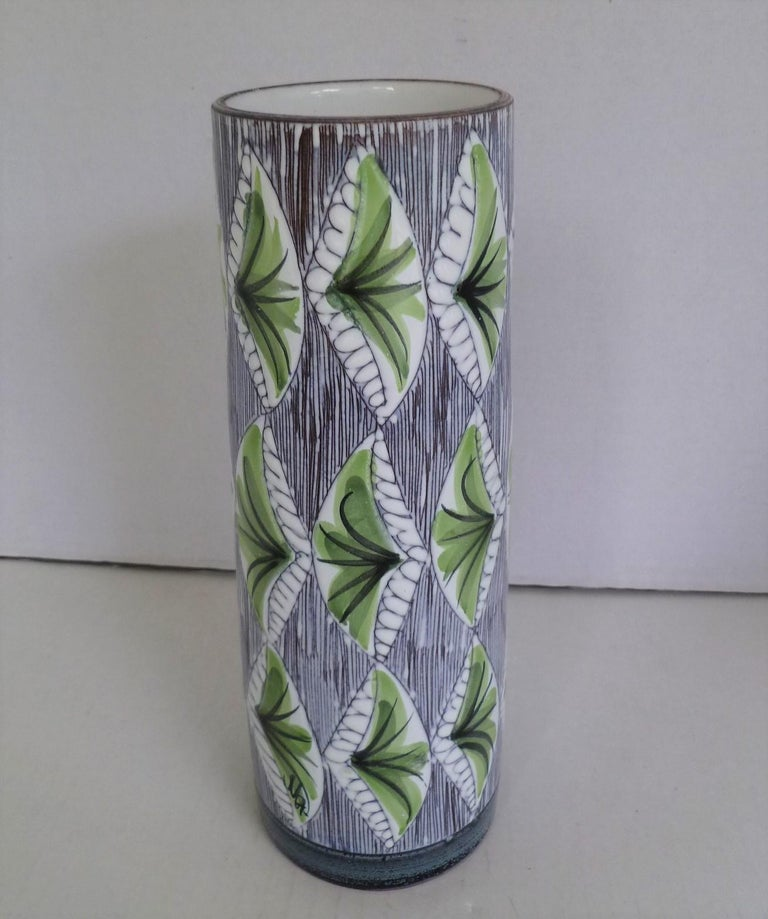 Mid-Century Modern Swedish Modern Laholm Pottery Hand Painted Ceramic Vessel, Sweden, 1960s For Sale