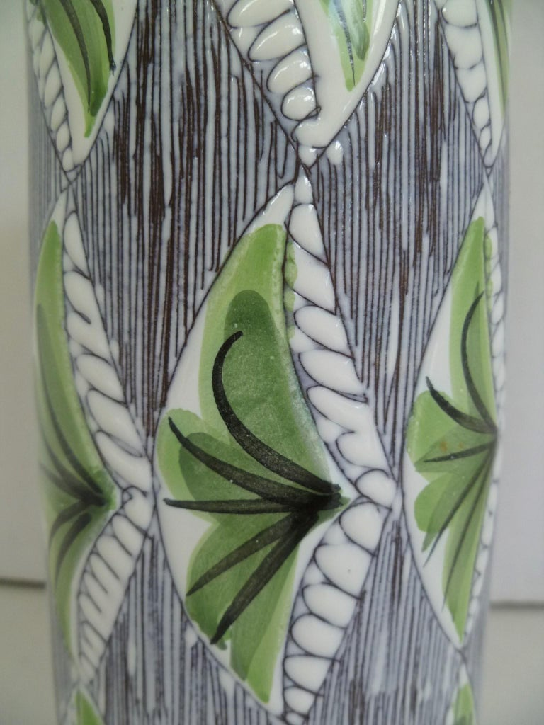 Swedish Modern Laholm Pottery Hand Painted Ceramic Vessel, Sweden, 1960s In Good Condition For Sale In Miami, FL