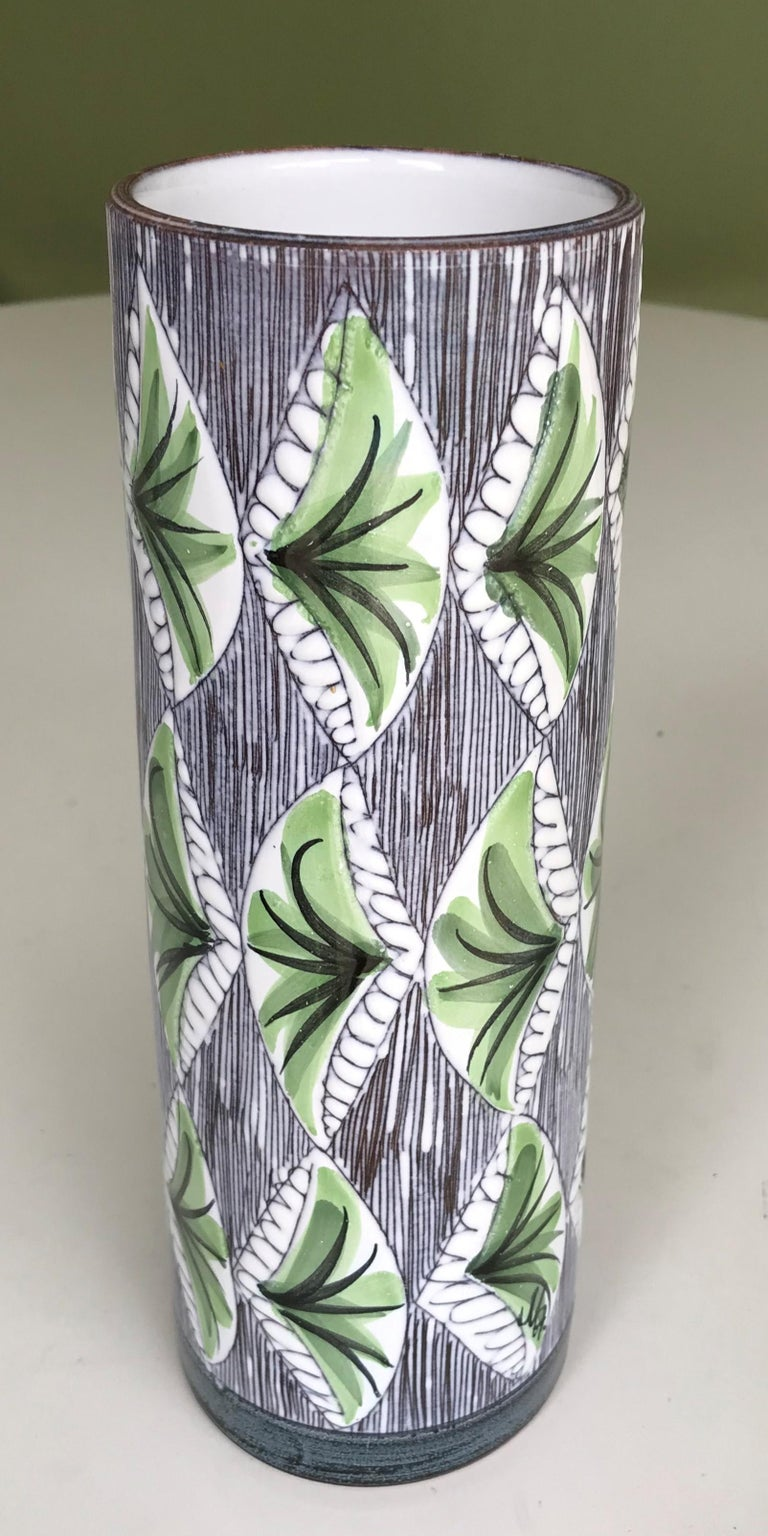 Swedish Modern Laholm Pottery Hand Painted Ceramic Vessel, Sweden, 1960s For Sale 2