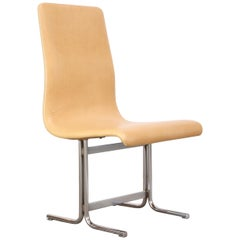Swedish Modern Leather and Chrome Accent Chair by Vemo Industri AB