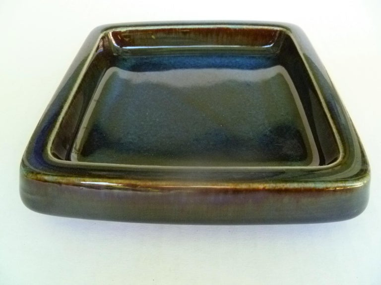 Glazed Swedish Modern Pair of Lagun 3 Stoneware Bowls for Gustavberg by Sven Jonson For Sale