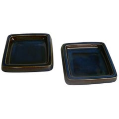Swedish Modern Pair of Lagun 3 Stoneware Bowls for Gustavberg by Sven Jonson