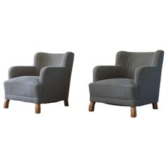 Swedish Modern Pair of Lounge Chairs by Boet, Attributed to Otto Schulz, 1940s