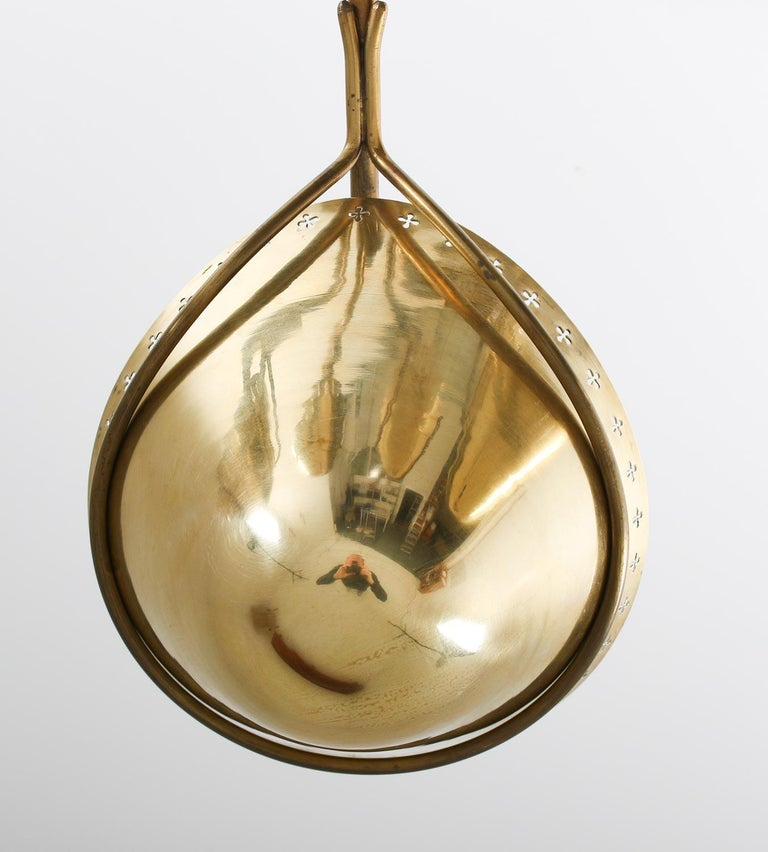 Swedish Modern Pendant in Perforated Brass, 1940s 6