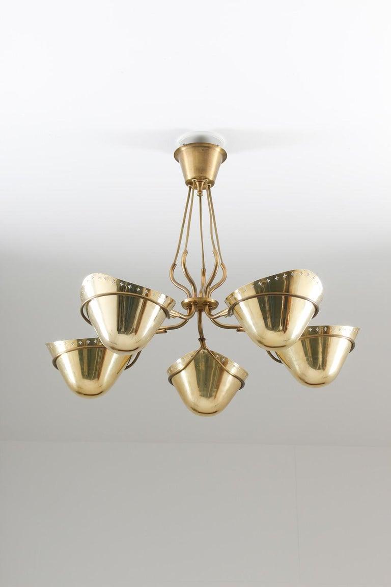 Mid-Century Modern Swedish Modern Pendant in Perforated Brass, 1940s