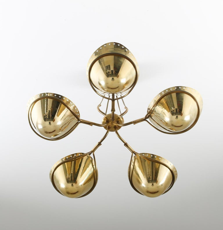 20th Century Swedish Modern Pendant in Perforated Brass, 1940s