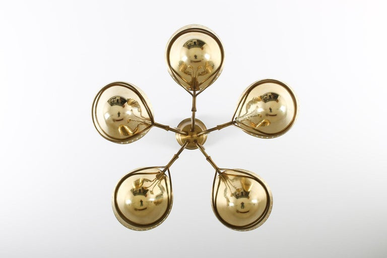 Swedish Modern Pendant in Perforated Brass, 1940s 1