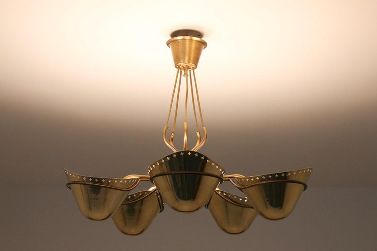 Swedish Modern Pendant in Perforated Brass, 1940s 2