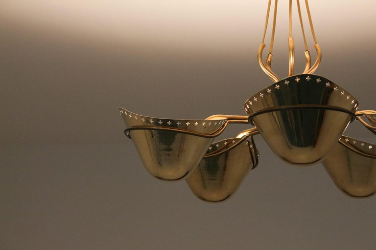 Swedish Modern Pendant in Perforated Brass, 1940s 3
