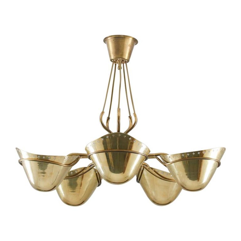 Swedish Modern Pendant in Perforated Brass, 1940s