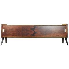 Swedish Modern Rosewood and Burl Birch Low Sideboard, 1960s