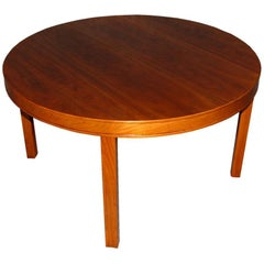 Swedish Modern Round Walnut End or Coffee Table by Carl Malmsten