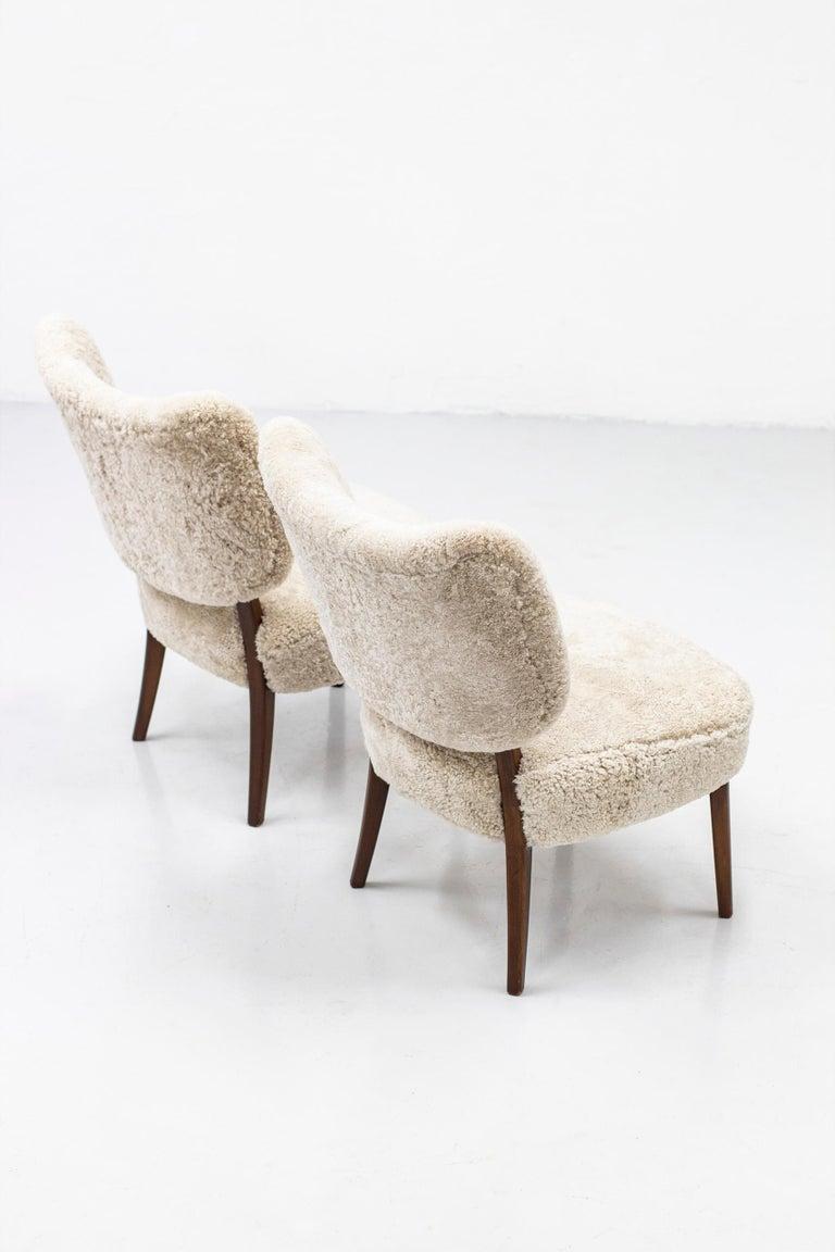 Scandinavian Modern Swedish Modern Sheepskin Lounge Chairs in the Style of Otto Schulz For Sale
