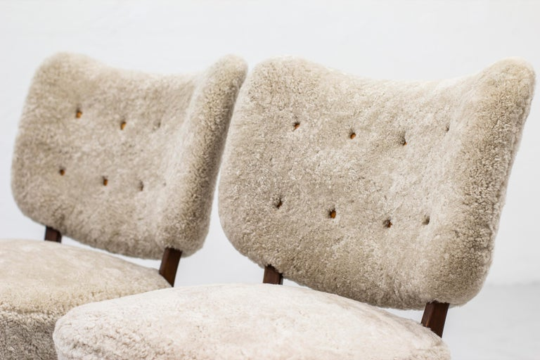 Mid-20th Century Swedish Modern Sheepskin Lounge Chairs in the Style of Otto Schulz For Sale