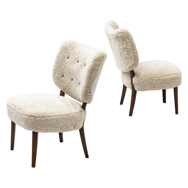 Swedish Modern Sheepskin Lounge Chairs in the Style of Otto Schulz For Sale
