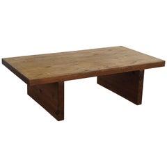 Swedish Modern Solid Pine Brutalist Coffee Table, 1960s
