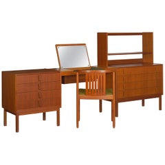 Swedish Modern Teak Bedroom Dresser Set and Desk by Bertil Fridhagen, circa 1964