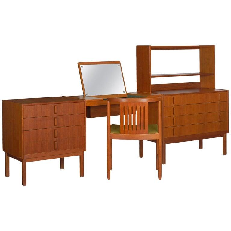 Swedish Modern Teak Bedroom Dresser Set and Desk by Bertil Fridhagen, circa 1964 For Sale
