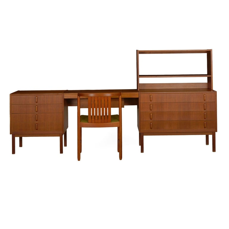Designed by Bertil Fridhagen and manufactured by Bodafors in Sweden, this bedroom dressing set remains in nearly impeccable condition from when it was first acquired in 1964-1965 from Scandinavian Design in New York by an interior designer. The