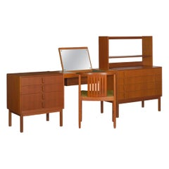 Swedish Modern Teak Bedroom Dresser Set & Desk by Bertil Fridhagen, circa 1964